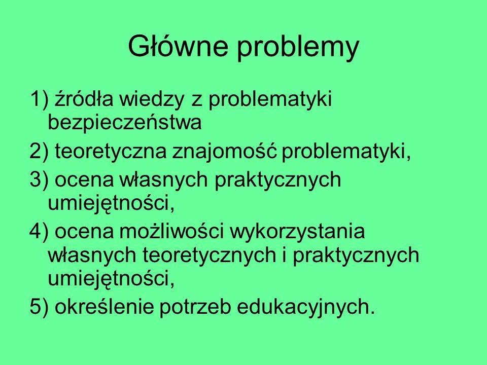 Główne problemy 1) źródła wiedzy z problematyki bezpieczeństwa