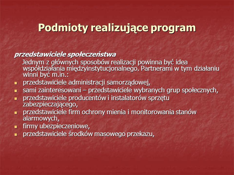 Podmioty realizujące program
