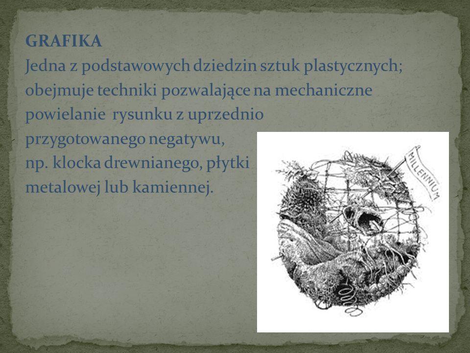GRAFIKA Jedna z podstawowych dziedzin sztuk plastycznych; obejmuje techniki pozwalające na mechaniczne powielanie rysunku z uprzednio przygotowanego negatywu, np.