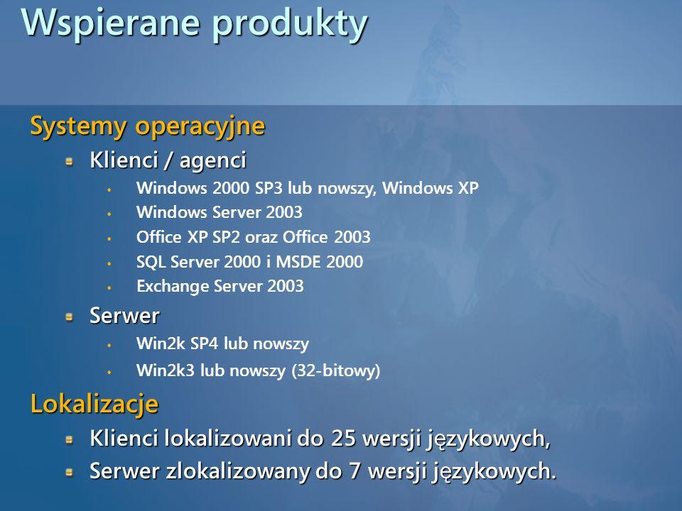 Wspierane produkty Systemy operacyjne Lokalizacje Klienci / agenci
