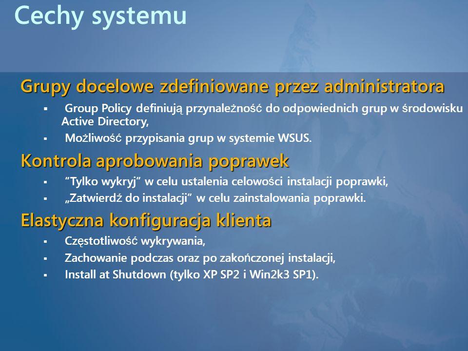 Cechy systemu Grupy docelowe zdefiniowane przez administratora