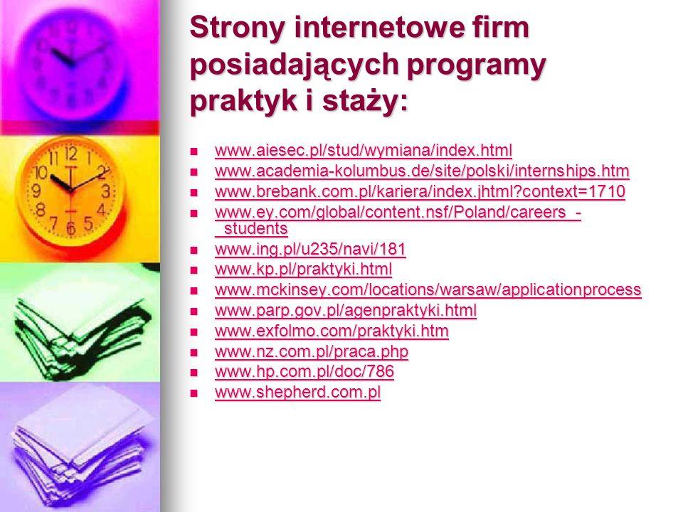 Strony internetowe firm posiadających programy praktyk i staży: