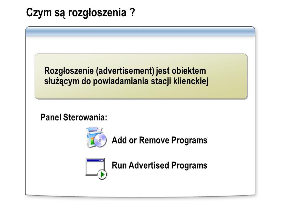 Czym są rozgłoszenia Rozgłoszenie (advertisement) jest obiektem służącym do powiadamiania stacji klienckiej.