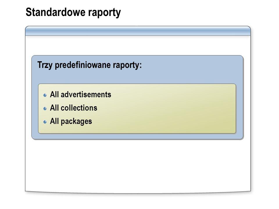 Standardowe raporty Trzy predefiniowane raporty: All advertisements
