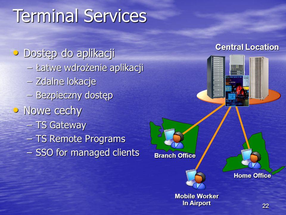 Terminal Services Dostęp do aplikacji Nowe cechy
