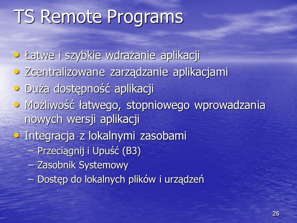 TS Remote Programs Łatwe i szybkie wdrażanie aplikacji