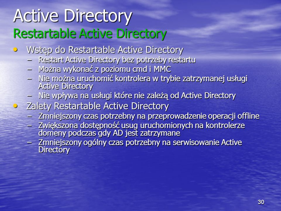 Active Directory Restartable Active Directory