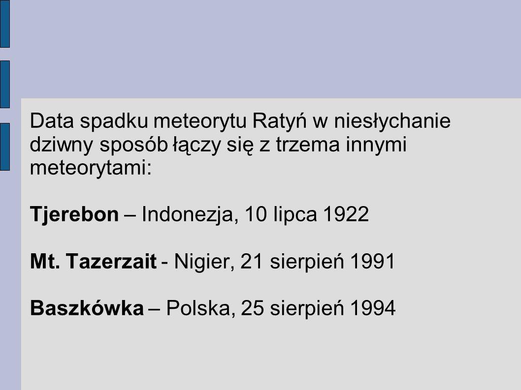 Data spadku meteorytu Ratyń w niesłychanie dziwny sposób łączy się z trzema innymi meteorytami: Tjerebon – Indonezja, 10 lipca 1922