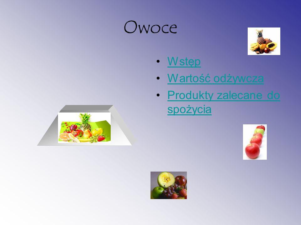 Owoce Wstęp Wartość odżywcza Produkty zalecane do spożycia