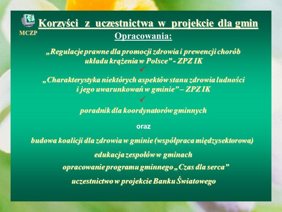 Korzyści z uczestnictwa w projekcie dla gmin