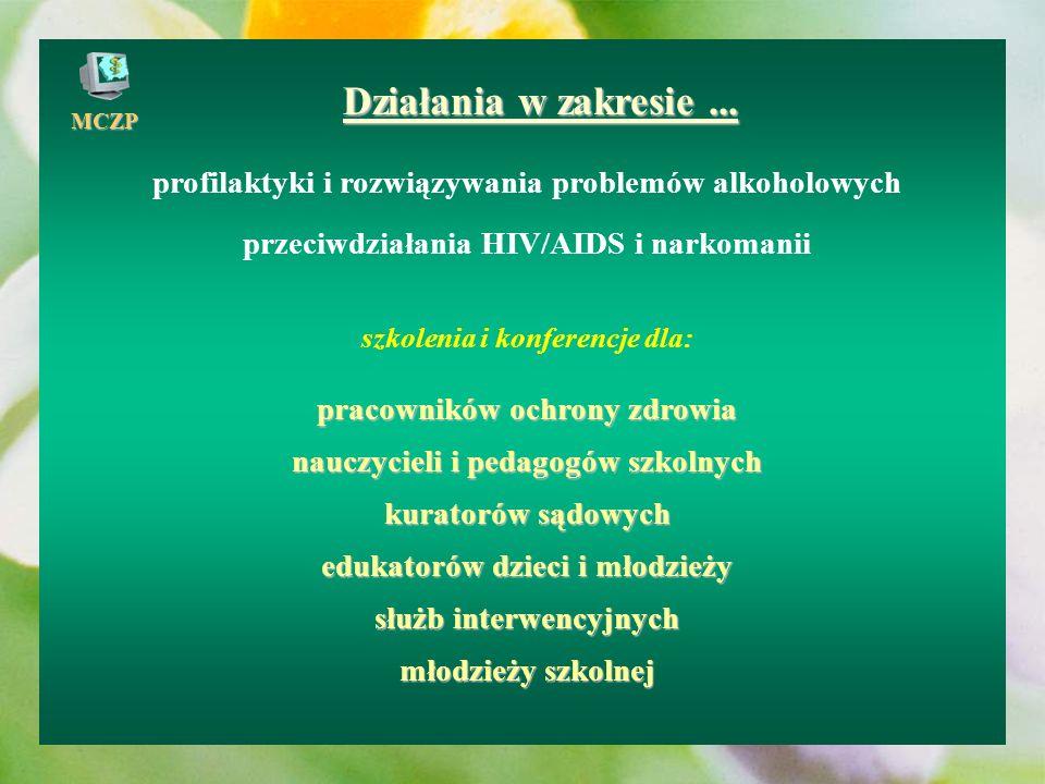 Działania w zakresie ... profilaktyki i rozwiązywania problemów alkoholowych. przeciwdziałania HIV/AIDS i narkomanii.