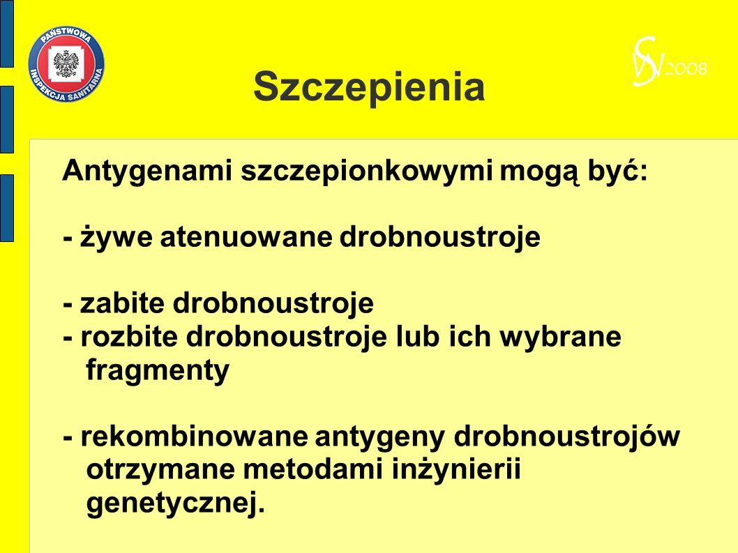 Szczepienia Antygenami szczepionkowymi mogą być: