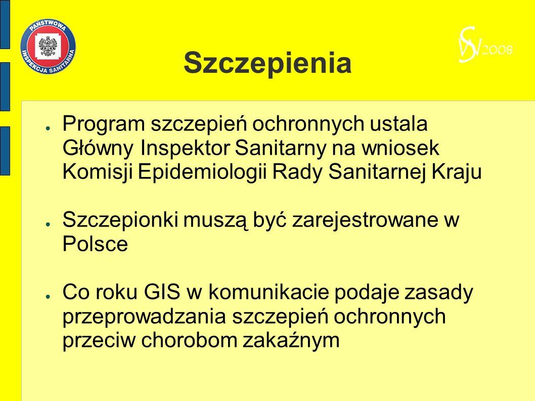 Szczepienia Program szczepień ochronnych ustala Główny Inspektor Sanitarny na wniosek Komisji Epidemiologii Rady Sanitarnej Kraju.