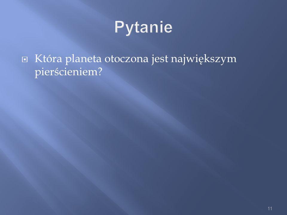 Pytanie Która planeta otoczona jest największym pierścieniem