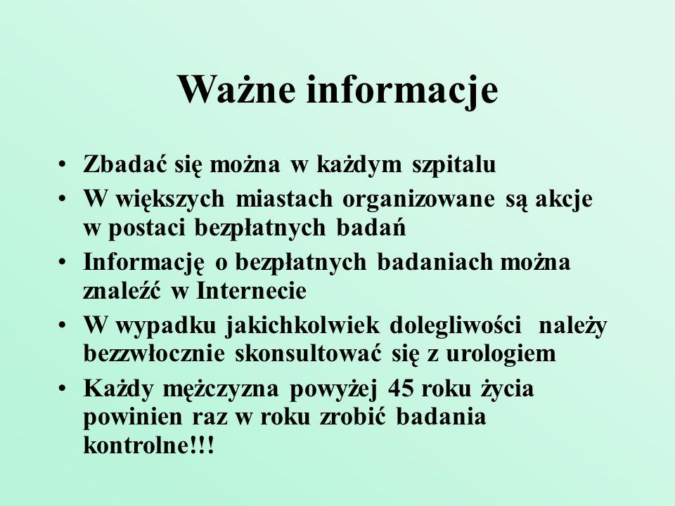 Ważne informacje Zbadać się można w każdym szpitalu