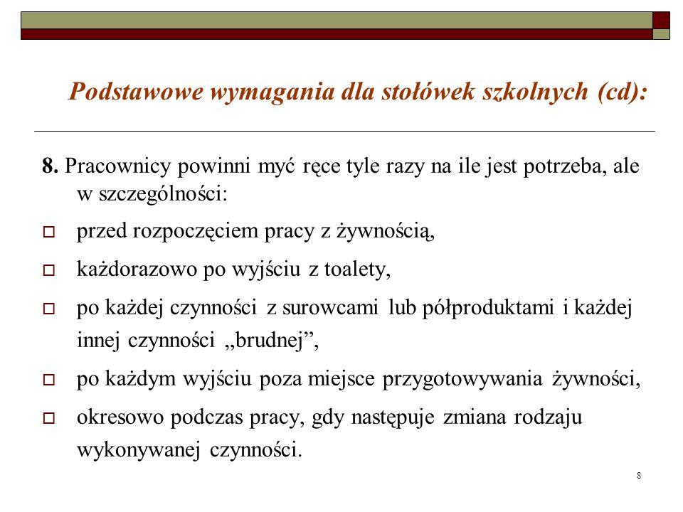 Podstawowe wymagania dla stołówek szkolnych (cd):