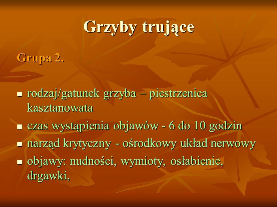 Grzyby trujące Grupa 2. rodzaj/gatunek grzyba – piestrzenica kasztanowata. czas wystąpienia objawów - 6 do 10 godzin.