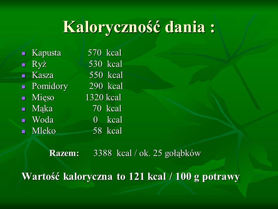 Kaloryczność dania : Wartość kaloryczna to 121 kcal / 100 g potrawy