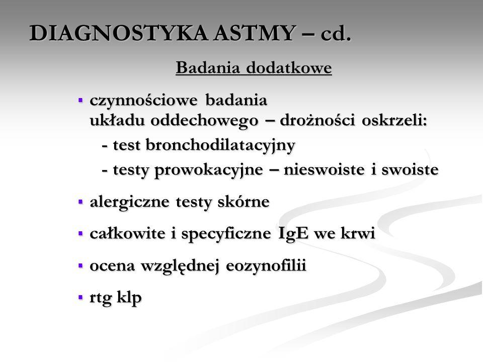 DIAGNOSTYKA ASTMY – cd. Badania dodatkowe