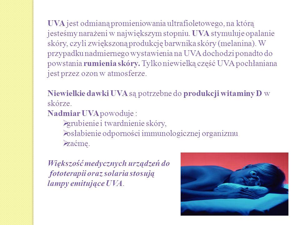 UVA jest odmianą promieniowania ultrafioletowego, na którą jesteśmy narażeni w największym stopniu. UVA stymuluje opalanie skóry, czyli zwiększoną produkcję barwnika skóry (melanina). W przypadku nadmiernego wystawienia na UVA dochodzi ponadto do powstania rumienia skóry. Tylko niewielką część UVA pochłaniana jest przez ozon w atmosferze.