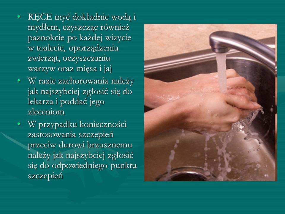 RĘCE myć dokładnie wodą i mydłem, czyszcząc również paznokcie po każdej wizycie w toalecie, oporządzeniu zwierząt, oczyszczaniu warzyw oraz mięsa i jaj