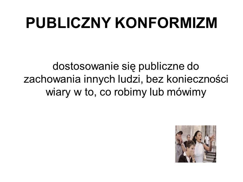 PUBLICZNY KONFORMIZM dostosowanie się publiczne do zachowania innych ludzi, bez konieczności wiary w to, co robimy lub mówimy.