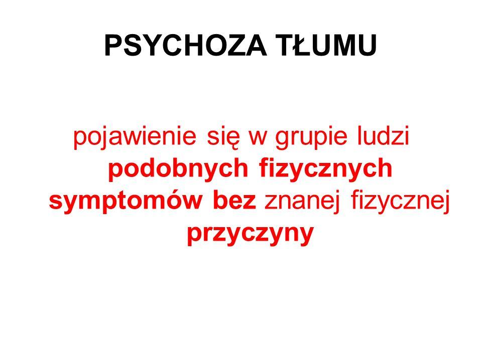 PSYCHOZA TŁUMUpojawienie się w grupie ludzi podobnych fizycznych symptomów bez znanej fizycznej przyczyny.