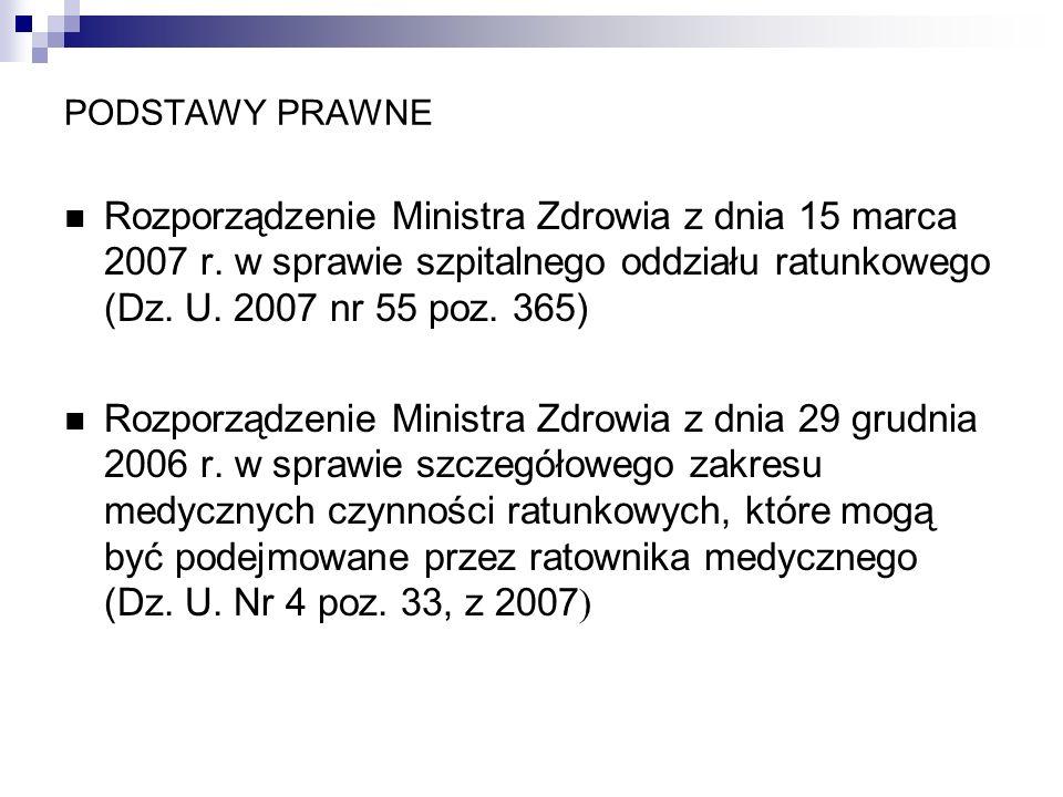 PODSTAWY PRAWNERozporządzenie Ministra Zdrowia z dnia 15 marca 2007 r. w sprawie szpitalnego oddziału ratunkowego (Dz. U. 2007 nr 55 poz. 365)