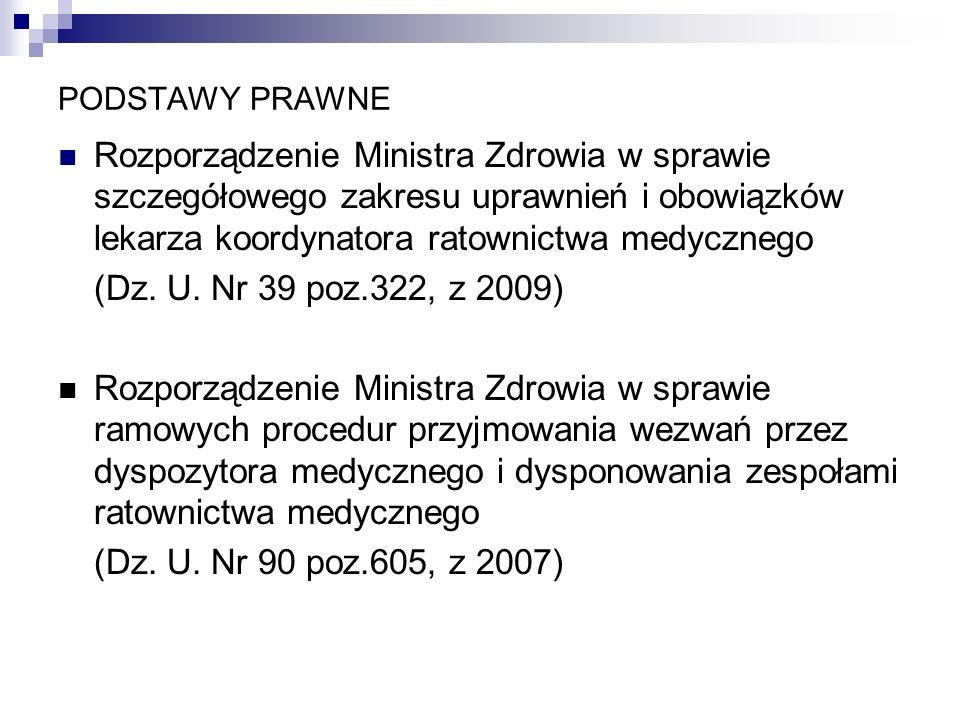 PODSTAWY PRAWNERozporządzenie Ministra Zdrowia w sprawie szczegółowego zakresu uprawnień i obowiązków lekarza koordynatora ratownictwa medycznego.