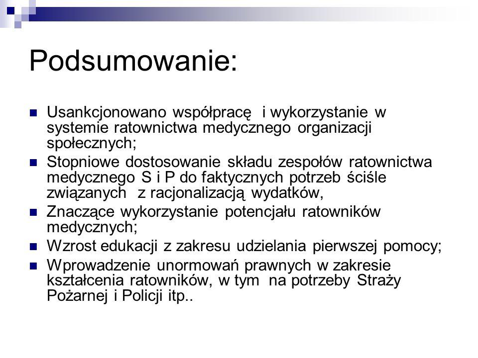 Podsumowanie:Usankcjonowano współpracę i wykorzystanie w systemie ratownictwa medycznego organizacji społecznych;