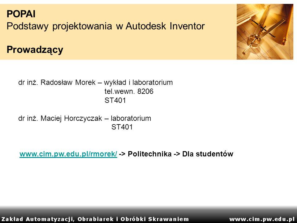 www.cim.pw.edu.pl/rmorek/ -> Politechnika -> Dla studentów