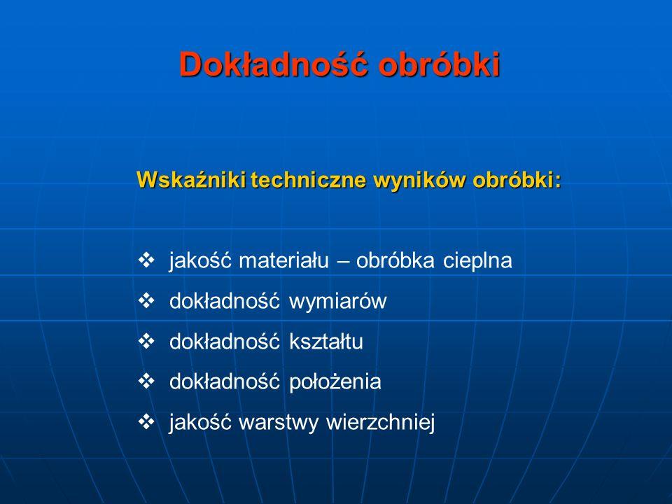 Dokładność obróbki Wskaźniki techniczne wyników obróbki: