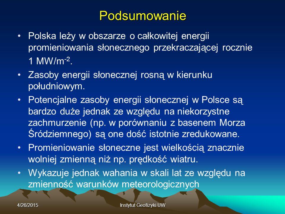 Podsumowanie Polska leży w obszarze o całkowitej energii promieniowania słonecznego przekraczającej rocznie.