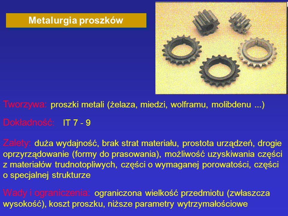 Metalurgia proszków Tworzywa: proszki metali (żelaza, miedzi, wolframu, molibdenu ...) Dokładność: IT 7 - 9.