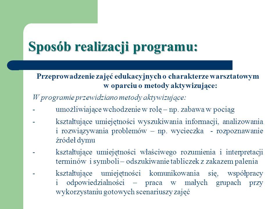 Sposób realizacji programu: