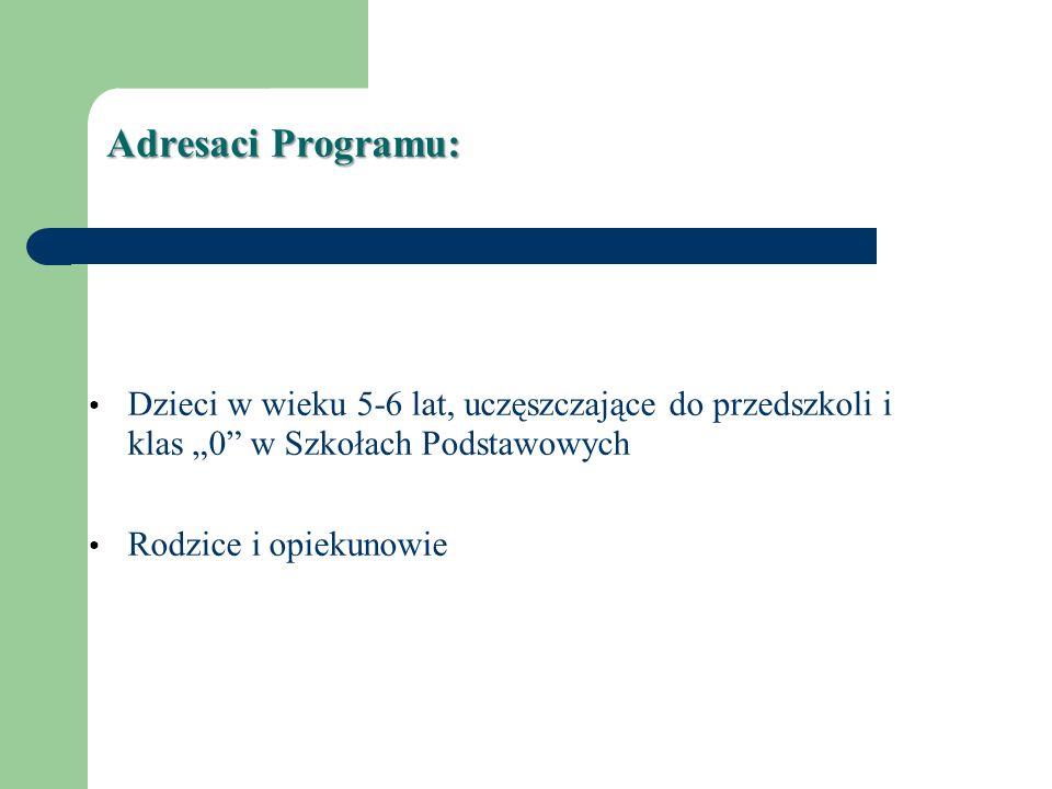 """Adresaci Programu: Dzieci w wieku 5-6 lat, uczęszczające do przedszkoli i klas """"0 w Szkołach Podstawowych."""
