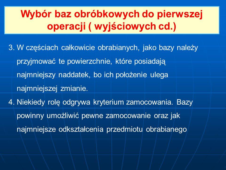 Wybór baz obróbkowych do pierwszej operacji ( wyjściowych cd.)