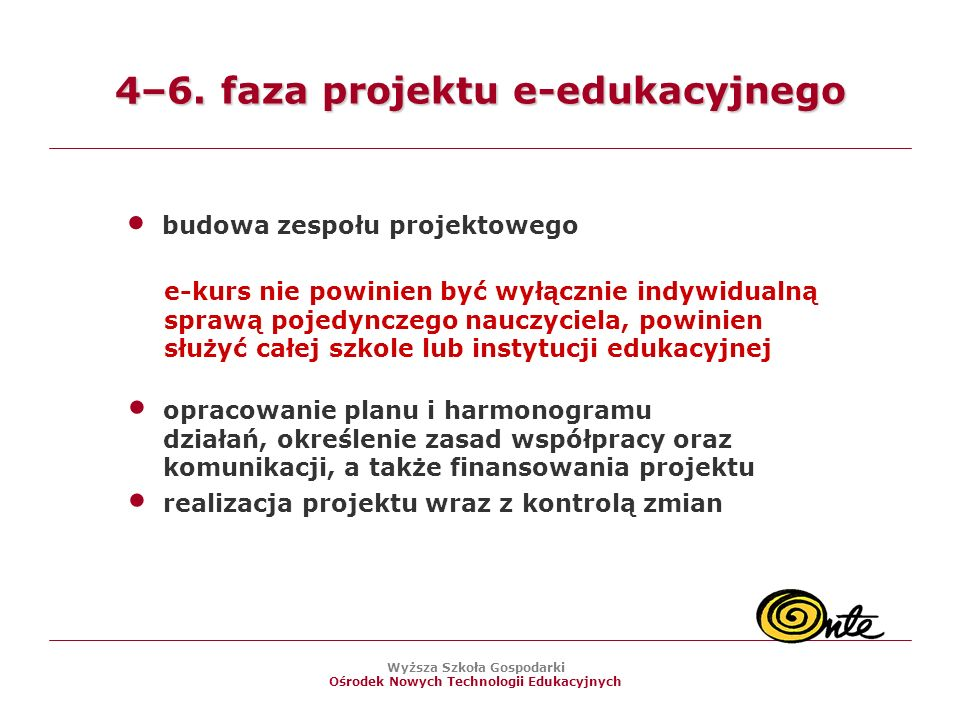 4–6. faza projektu e-edukacyjnego