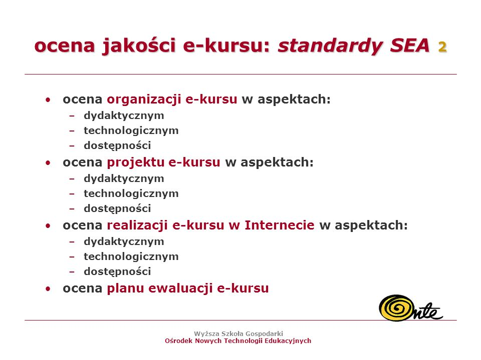 ocena jakości e-kursu: standardy SEA 2