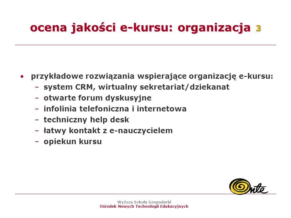 ocena jakości e-kursu: organizacja 3