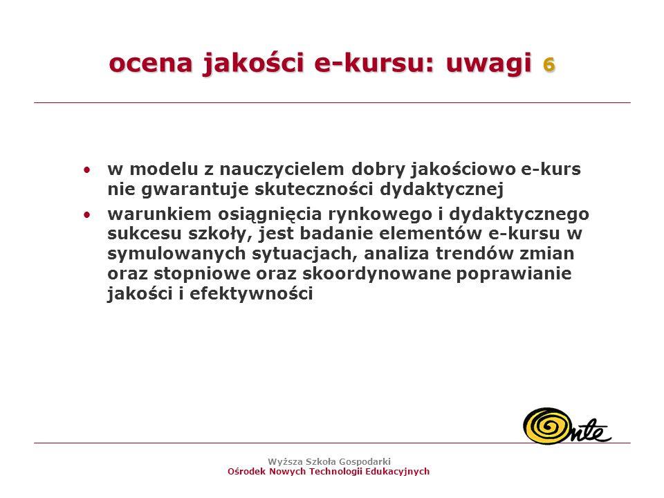 ocena jakości e-kursu: uwagi 6