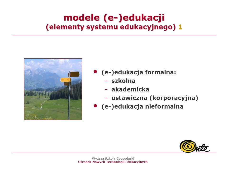 modele (e-)edukacji (elementy systemu edukacyjnego) 1