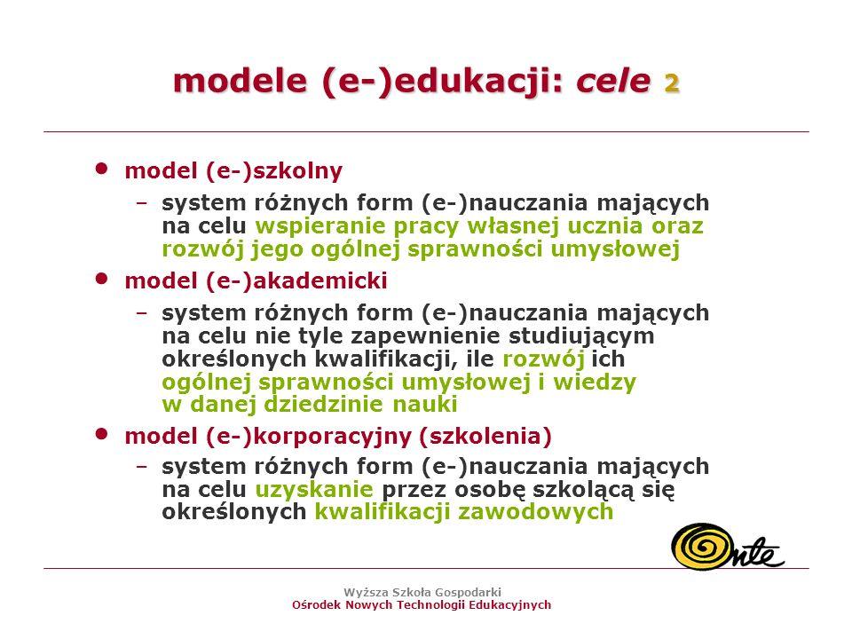 modele (e-)edukacji: cele 2