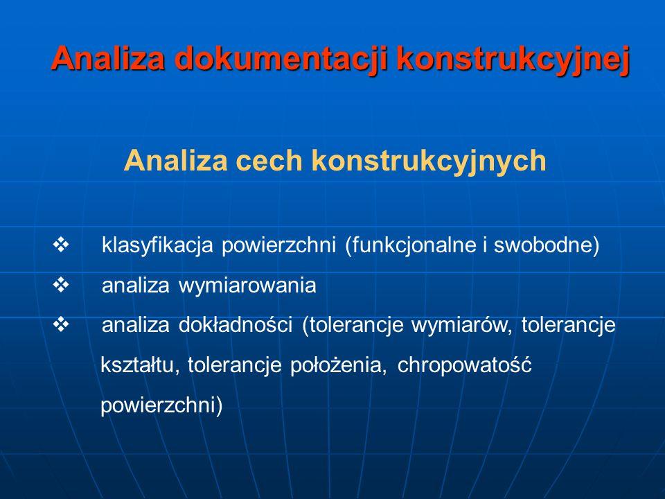 Analiza dokumentacji konstrukcyjnej Analiza cech konstrukcyjnych
