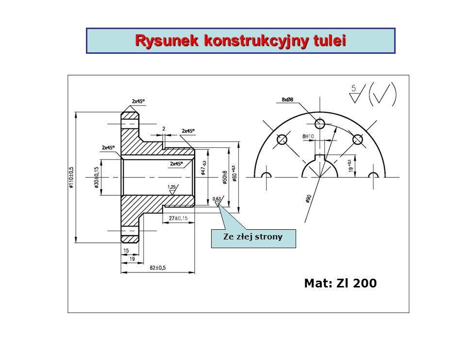 Rysunek konstrukcyjny tulei
