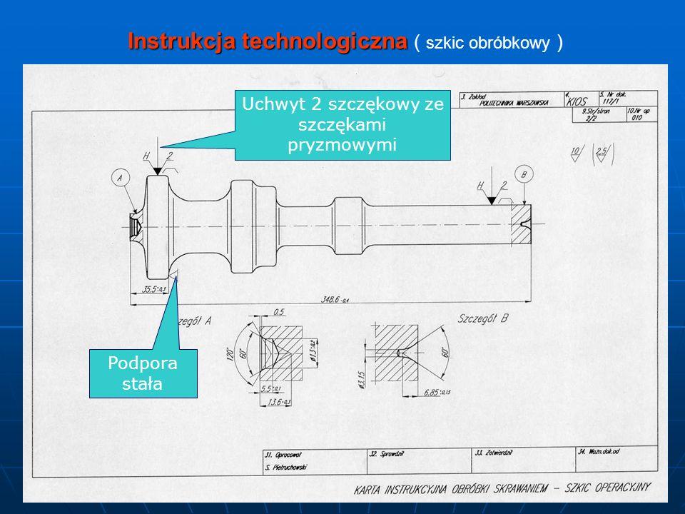 Instrukcja technologiczna ( szkic obróbkowy )