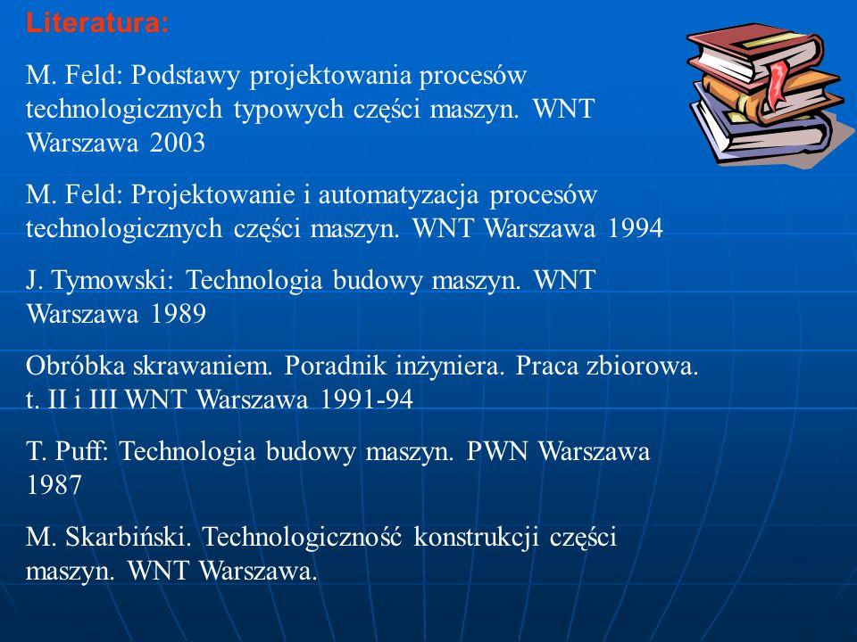 Literatura: M. Feld: Podstawy projektowania procesów technologicznych typowych części maszyn. WNT Warszawa 2003.