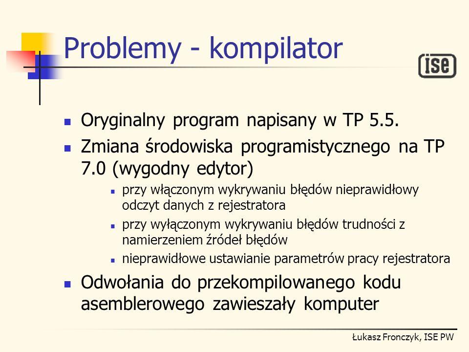 Problemy - kompilator Oryginalny program napisany w TP 5.5.