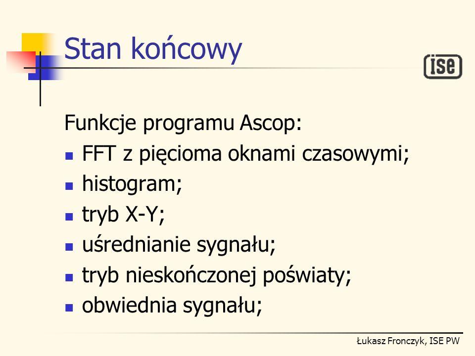 Stan końcowy Funkcje programu Ascop: FFT z pięcioma oknami czasowymi;