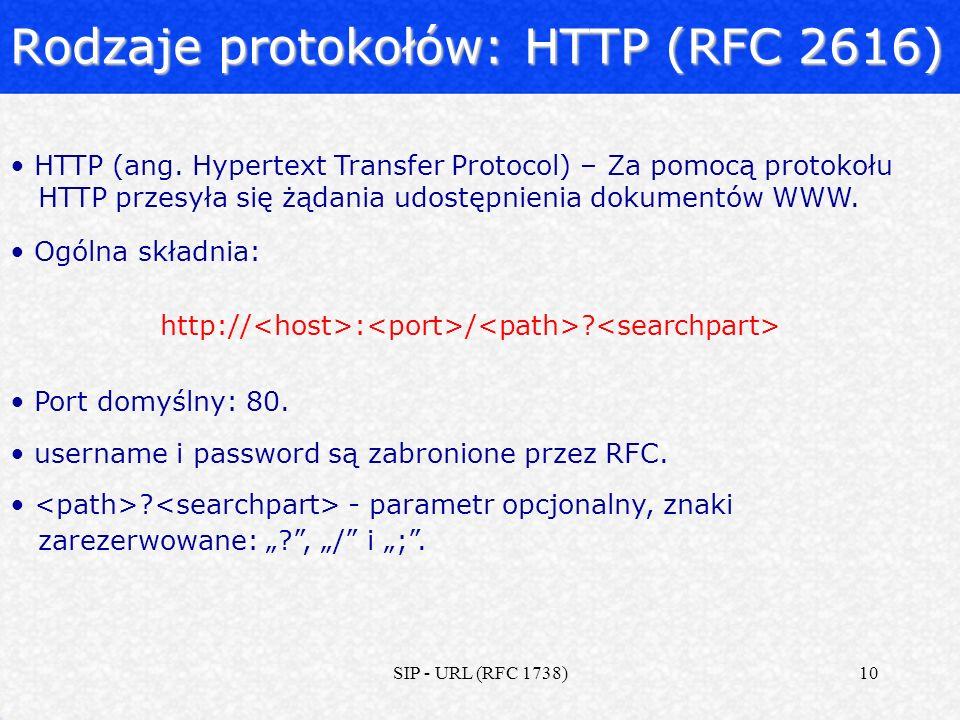 Rodzaje protokołów: HTTP (RFC 2616)